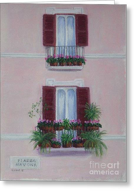 Flower Boxes Pastels Greeting Cards - Il Terrazo in Roma  Piazza Navona Greeting Card by Mary Erbert