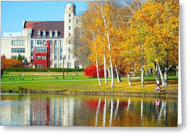 Mother Goose Greeting Cards - Illinois campus in Autumn Greeting Card by Patrick Hart