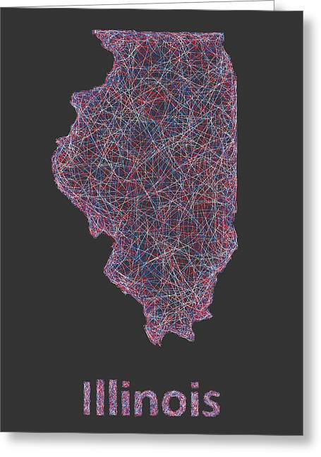Springfield Illinois Drawings Greeting Cards - Illinois map Greeting Card by David Zydd
