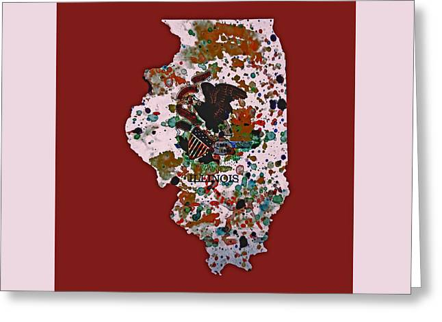 Chicago Flag Mixed Media Greeting Cards - Illinois Paint Splatter Greeting Card by Brian Reaves