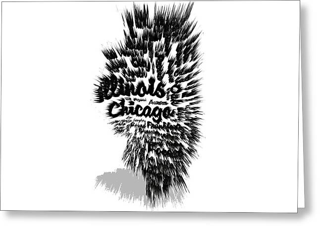Chicago Flag Mixed Media Greeting Cards - Illinois Typographic Map 5a Greeting Card by Brian Reaves