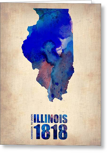 Maps. State Map Greeting Cards - Illinois Watercolor Map Greeting Card by Naxart Studio