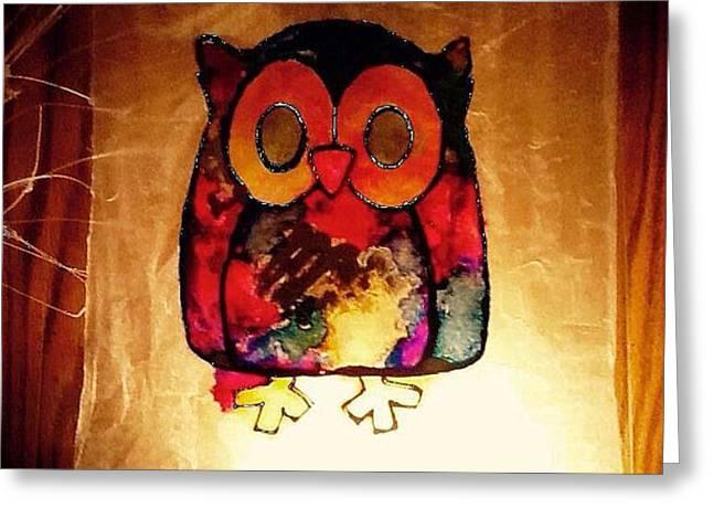 Owls Glass Greeting Cards - Illuminari Owl Greeting Card by Jessica Allen