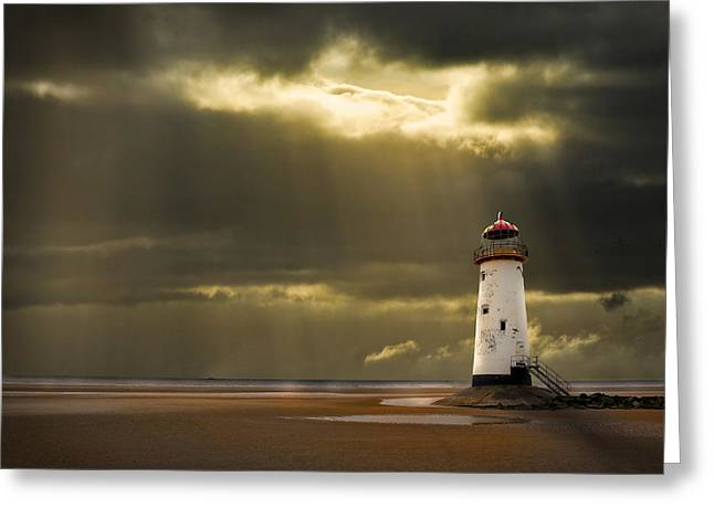 Ocean Shore Greeting Cards - Illuminated Beacon Greeting Card by Meirion Matthias
