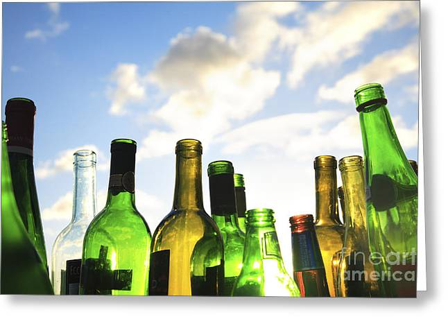 Illuminated Bottles Greeting Card by Brandon Tabiolo - Printscapes
