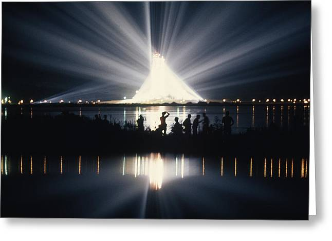 Kennedy Space Center Greeting Cards - Illuminated By Spotlights, Apollo Ii Greeting Card by Otis Imboden
