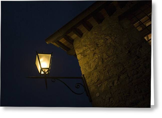 Chianti Greeting Cards - Illuminated Lantern At The Corner Greeting Card by Todd Gipstein