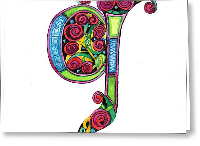 Illuminated Letter G Greeting Card by Genevieve Esson