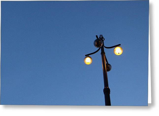 Street Lights Greeting Cards - Illuminated Greeting Card by Linda Woods