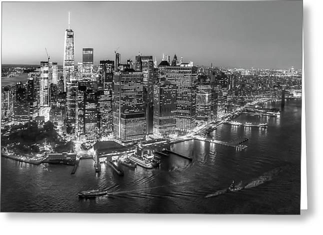 Black Top Greeting Cards - Illuminated Lower Manhattan NYC BW Greeting Card by Susan Candelario