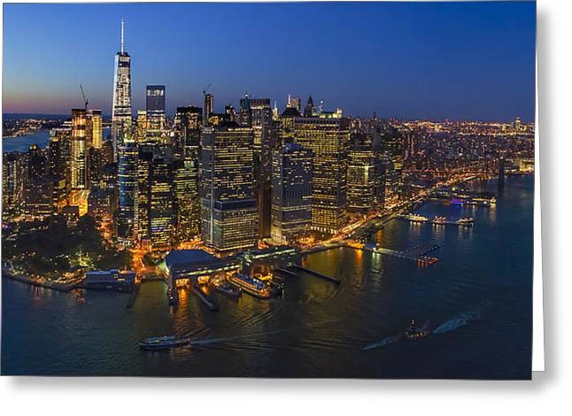 Illuminate Greeting Cards - Illuminated Lower Manhattan NYC Greeting Card by Susan Candelario