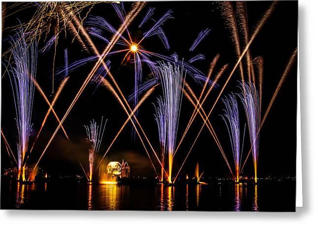 World Showcase Lagoon Greeting Cards - Illuminations Greeting Card by Jason Baldwin - Shared Perspectives Photography