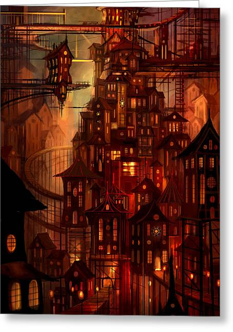 Surrealism Mixed Media Greeting Cards - Illuminations Greeting Card by Philip Straub