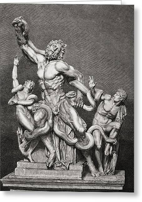 Greek Sculpture Greeting Cards - Illustration After The Statue Laoco Greeting Card by Vintage Design Pics