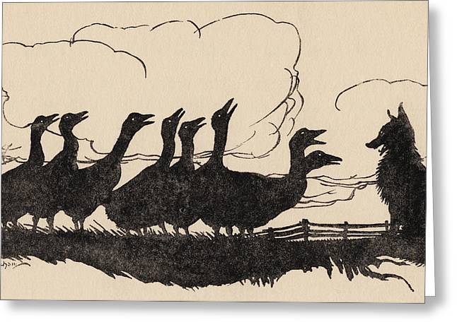 Geese Silhouette Greeting Cards - Illustration By Arthur Rackham From Greeting Card by Vintage Design Pics