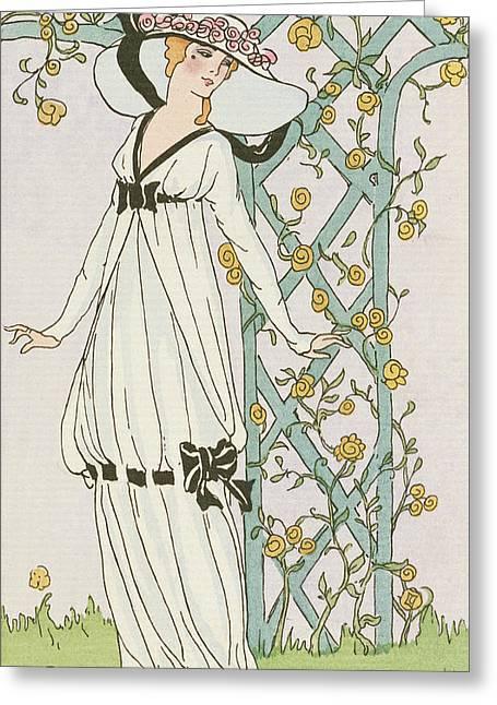 Illustration From Journal Des Dames Et Des Modes Greeting Card by H Robert Dammy