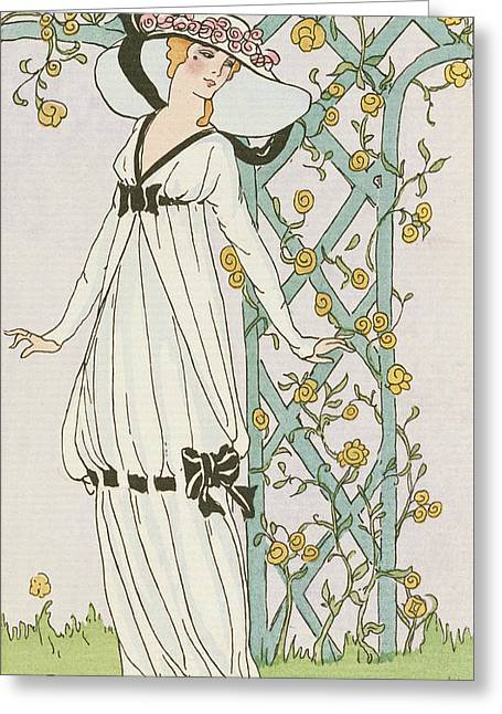 1900s Greeting Cards - Illustration from Journal des Dames et des Modes Greeting Card by H Robert Dammy