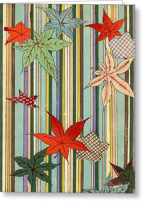 Striped Drawings Greeting Cards - Illustration of Autumn Leaves on a Striped Background Greeting Card by Unknown