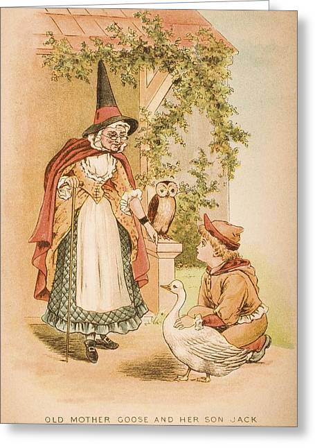 Illustration Of Old Mother Goose And Greeting Card by Vintage Design Pics