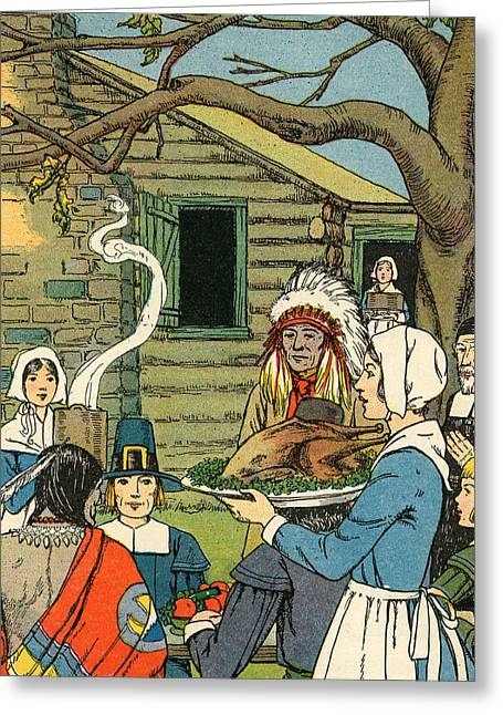 Illustration Of The First Thanksgiving Greeting Card by American School