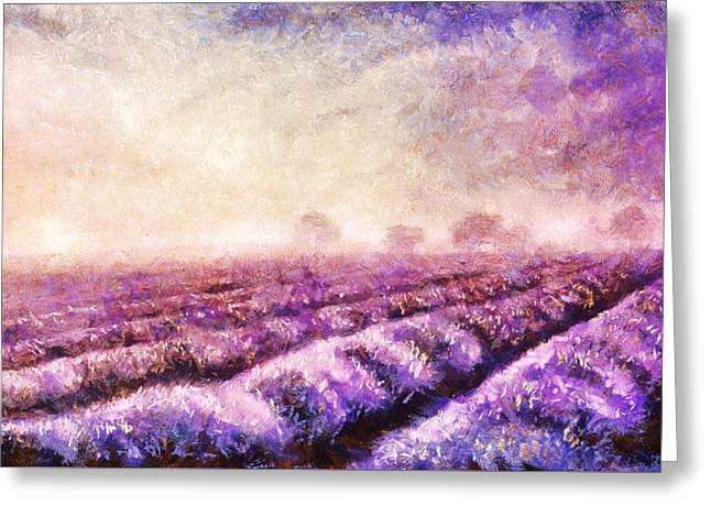 Charming Cottage Digital Art Greeting Cards - illustration painting of lavender fields on canvas. Sunset landscape Greeting Card by Jozef Klopacka