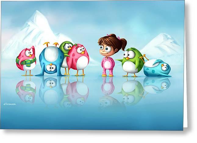Pajamas Greeting Cards - Im a penguin too Greeting Card by Tooshtoosh