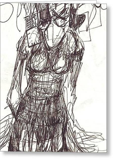 Ink Drawing Greeting Cards - Im Sorry to Have to Do This to You Greeting Card by Mariann Hartley