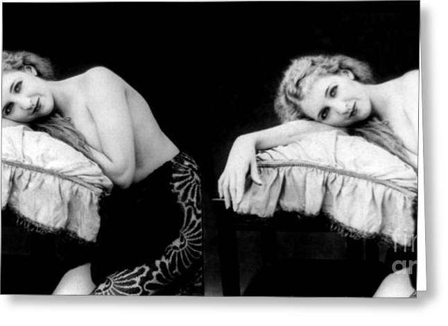 Racy Greeting Cards - Im Too Tired, Nude Model, 1928 Greeting Card by Science Source