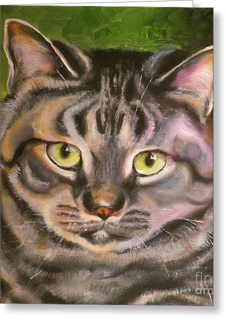 Cat Eyes Drawings Greeting Cards - Im Your Man Tabby Greeting Card by Susan A Becker