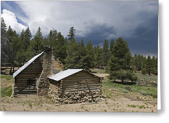 Mountain Cabin Greeting Cards - Image Of Old Cabin And Fences Of Olivas Greeting Card by Rich Reid