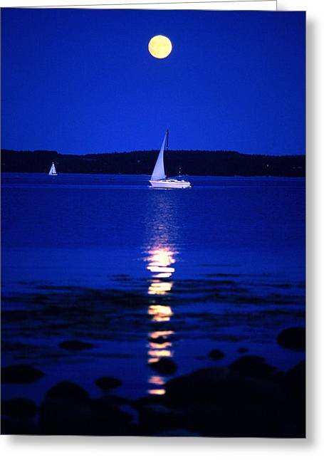 Reflexion Greeting Cards - Imageworks Photographic Sailboat Out On Greeting Card by Imageworks Photographic