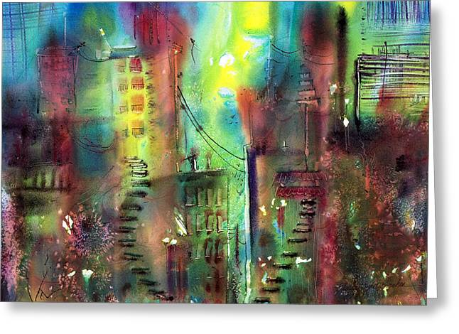 Urban Images Greeting Cards - Imaginary City Greeting Card by Shirley Sykes Bracken