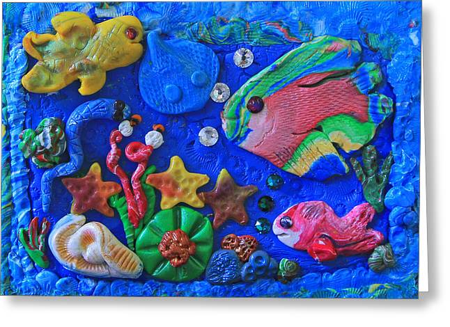 Plankton Greeting Cards - Imaginary Clay Sea World Greeting Card by Donna Haggerty
