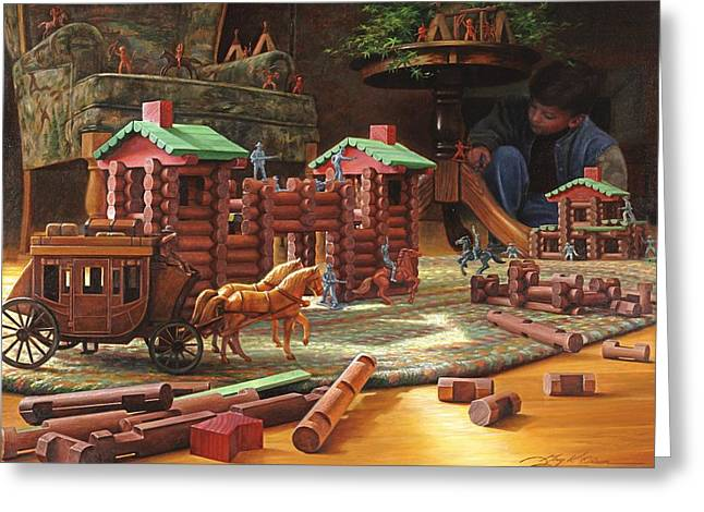 Wood Blocks Greeting Cards - Imagination Final Frontier Greeting Card by Greg Olsen
