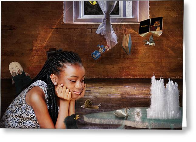 Pretending Mixed Media Greeting Cards - Imagination Greeting Card by Terry Fleckney