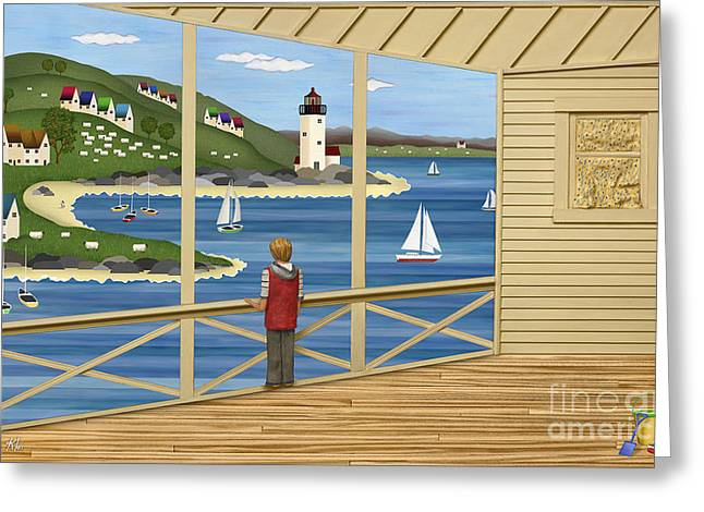 New England Village Scene Greeting Cards - Imagine Greeting Card by Anne Klar