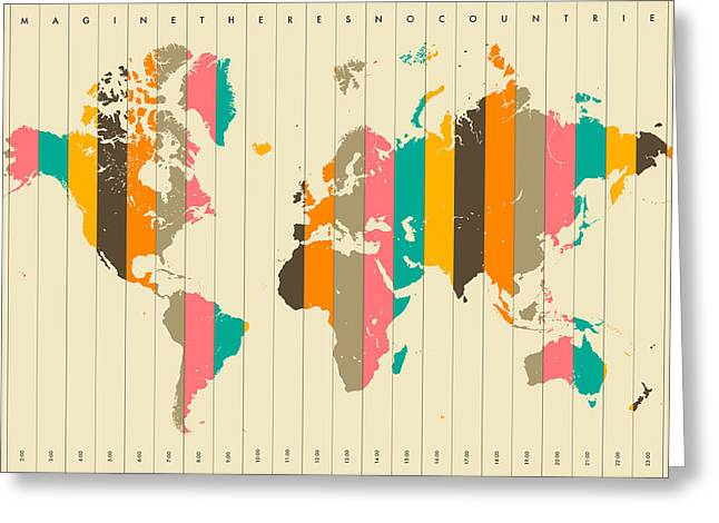 Imagine There's No Countries 2 Greeting Card by Jazzberry Blue