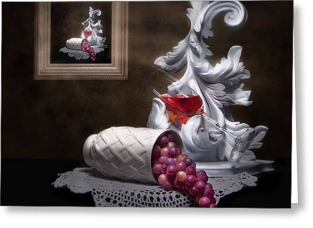 Doily Greeting Cards - Imitation of Art Still Life Greeting Card by Tom Mc Nemar