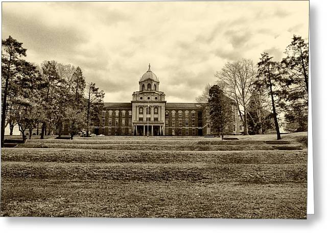 University School Greeting Cards - Immaculata University in Black and White Greeting Card by Bill Cannon