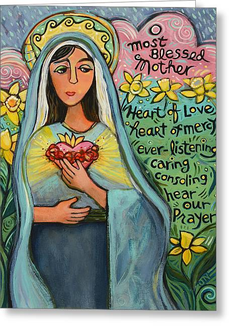 Here Greeting Cards - Immaculate Heart of Mary Greeting Card by Jen Norton