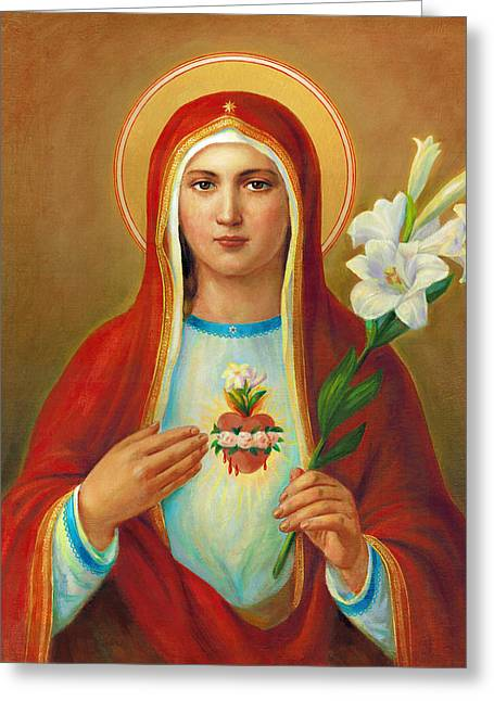 Mother Mary Digital Art Greeting Cards - Immaculate Heart of Mary Greeting Card by Svitozar Nenyuk