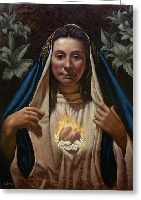 Mary Greeting Cards - Immaculate Heart Greeting Card by Timothy Jones