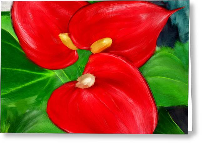 Gift For Her Greeting Cards - Immeasurable Beauty- Anthurium Paintings Greeting Card by Lourry Legarde