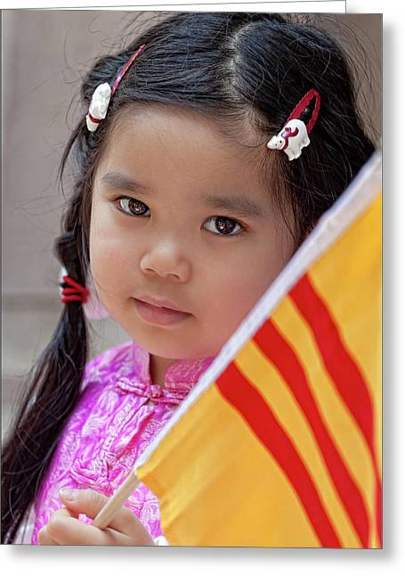 Immigrants Parade Nyc 6 25 11 Young Vietnamese Girl Greeting Card by Robert Ullmann