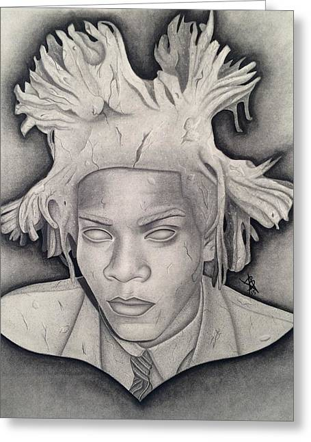 Basquiat Drawings Greeting Cards - Immortalizing In Stone Jean Michel Basquiat Drawing Greeting Card by Angelee Borrero