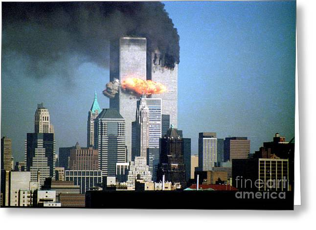 Wtc 11 Photographs Greeting Cards - Impact Tower 2 Greeting Card by Mark Gilman