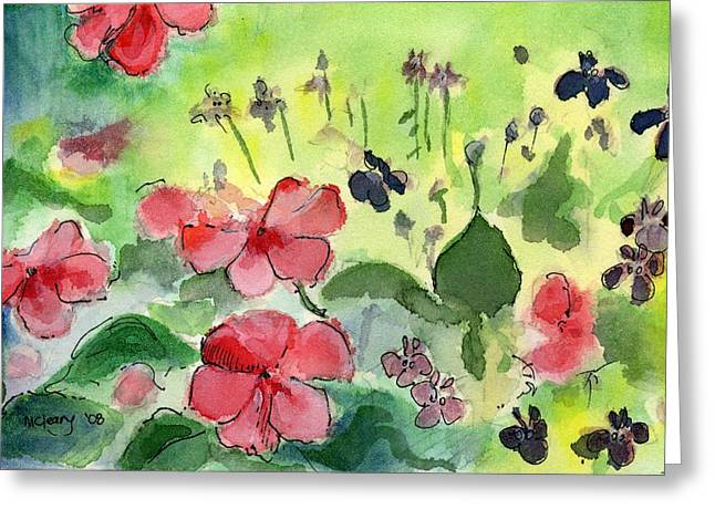 Impatiens Flowers Greeting Cards - Impatiens and Blue Flowers Greeting Card by MaryAnn Cleary