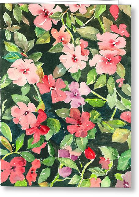Impatiens Flowers Greeting Cards - Impatiens Greeting Card by Arline Wagner