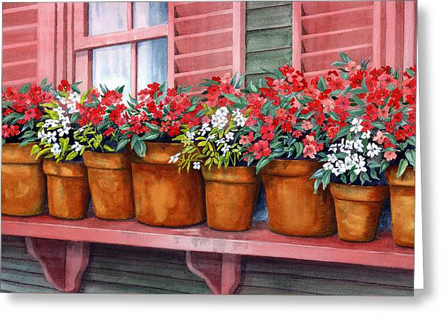 Impatiens Greeting Card by Karen Wright