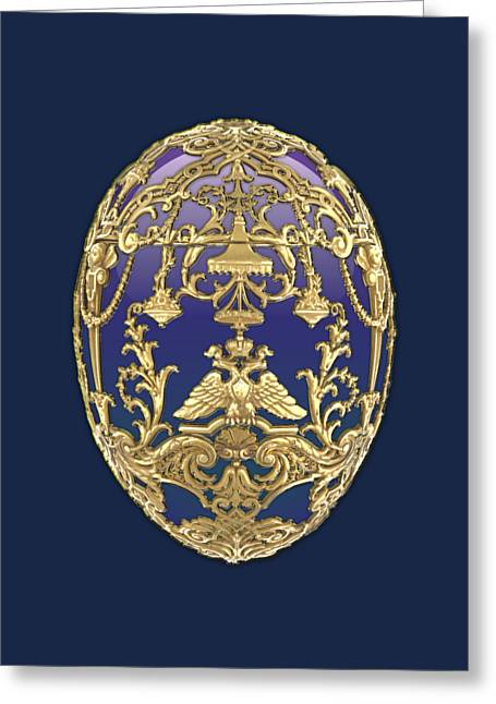 Imperial Faberge Eggs - Tsarevich Egg On Blue Velvet Greeting Card by Serge Averbukh